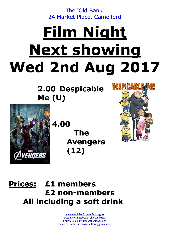 FILMS      2pm Despicable Me      4pm The Avengers (12)