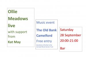 Fund Raiser for Cornwall Music Services Trust with Ollie Meadows with support from Kat May